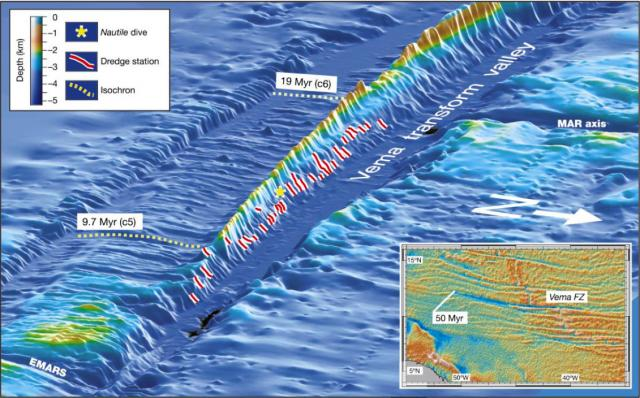 Perspective view of bathymetry at Vema Transform (2003)