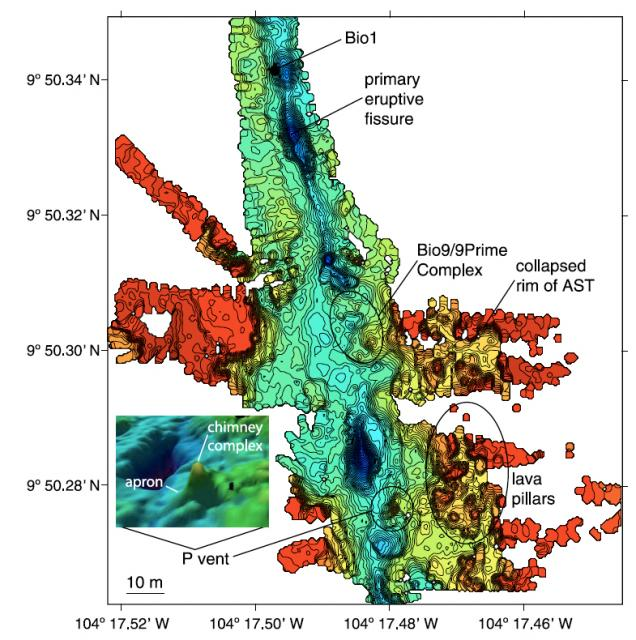 Composite bathymetry map of P-vent area EPR (2004)