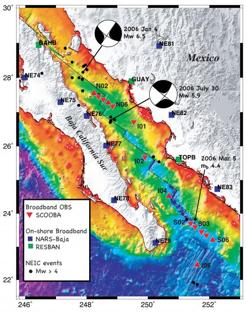 RCL Gulf of California seismometer locations (2008)