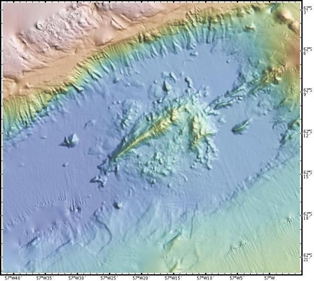 Ocean floor map of rifting within the Bransfield Strait (2008)