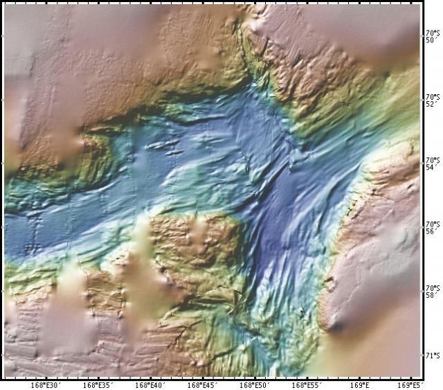Ocean floor  map of iceberg gouges, Ross Sea (2008)