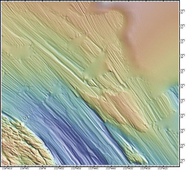 Ocean floor map of iceberg gouges, Ross Sea (2008)